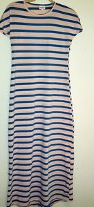 Lularoe Maria Dress Sz XS Pink Blue Stripe Maxi